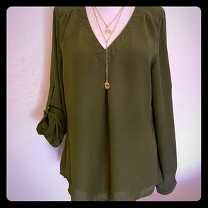 Olive Green Tunic Blouse Top Medium